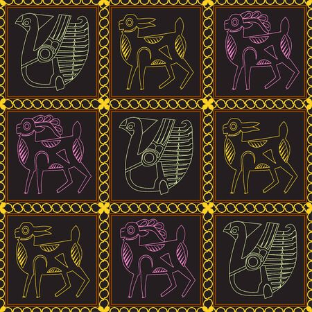 Ancient depicting a bird, a goat and doe. Figure animals in black squares framed by a chain. Motives of ancient Byzantine and Chinese fabrics. Suitable for furniture upholstery, textile, paper. Ilustracja