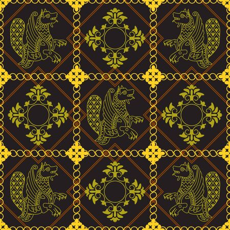 Ancient image of a dragon. Yellow dragon and yellow ornament in black squares. Motives of ancient Byzantine and Chinese fabrics. Suitable for furniture upholstery, textiles, paper.