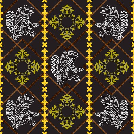 Ancient image of a dragon. White dragon and yellow pattern on a black and brown background. Motives of ancient Byzantine and Chinese fabrics. Suitable for furniture upholstery, textile, paper.