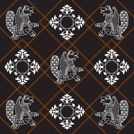 Ancient image of a dragon. White dragon and white pattern on a black and brown background. Motives of ancient Byzantine and Chinese fabrics. Suitable for furniture upholstery, textile, paper.