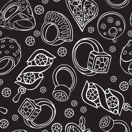 Figure jewelry. Rings, rings, pendants and crystals in a white outline on a garlic background. Seamless pattern. Ilustração