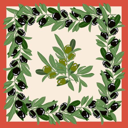 Postcard, scarf with the image of olive branches with black and green fruits. Suitable for the design of covers and invitations.