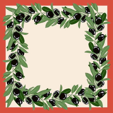 Postcard, scarf with the image of olive branches with black fruits. Suitable for the design of covers and invitations.