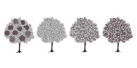 Conjunto de árboles de fantasía. Dibujo de contorno sobre un fondo blanco. Postal, cartel. Ilustración de vector