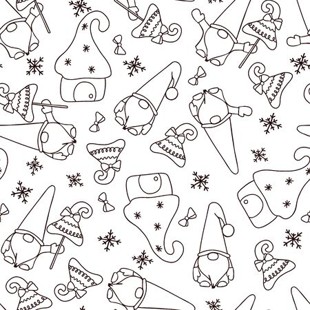 Christmas gnomes with Christmas trees and small houses. Black and white graphic image. Seamless pattern. Suitable for paper and textile.