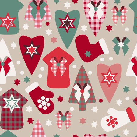 Winter pattern of Christmas toys, mittens, sock and boots. Christmas trees, heart toys, houses, snowflakes on a beige background. Seamless pattern. Background suitable for packaging, fabric, paper. Ilustracja