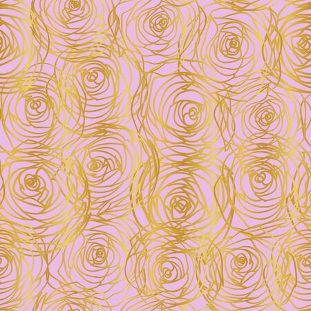 Golden contours of the image of roses on a pink background. Abstract pattern. Seamless pattern. Suitable for fabric, paper, wallpaper.