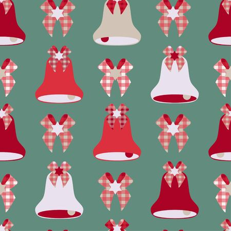 Pattern of christmas bells on a green background. Separate red, silver, beige bells on a green background. Christmas, New Year. Seamless pattern. Ilustracja