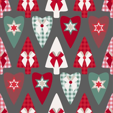 Pattern of Christmas tree toys, hearts and Christmas trees on a gray background. Separate red, green, pink, checkered Christmas trees and hearts on a gray background. Christmas, New Year. Seamless pat