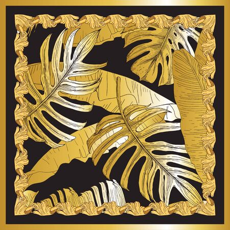 Scarf with a pattern of tropical plants. Isolated golden leaves of banana, palm and monstera on a black background. in a gold frame.  イラスト・ベクター素材