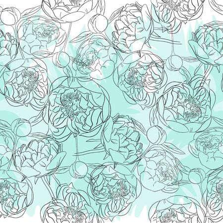 Peony flowers in sketch style. Image of buds in a black outline on a white and virid background. Seamless pattern. Ilustracja