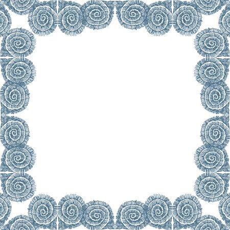 Frame made of zigzag swirling ink lines. Twisted blue shapes around the edges of a white field.
