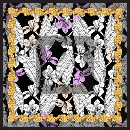 Scarf with a pattern of plumeria flowers. Separate pink, beige, white flowers and leaves on a black background in a gold frame.