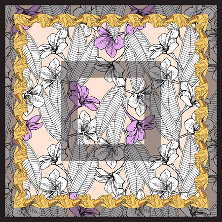 Handkerchief with white and pink flowers on a beige background. Botanical pattern in a gold patterned frame.