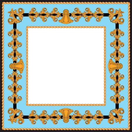 Vintage style frame with golden elements. Art Nouveau details on a black and blue background around a white square.