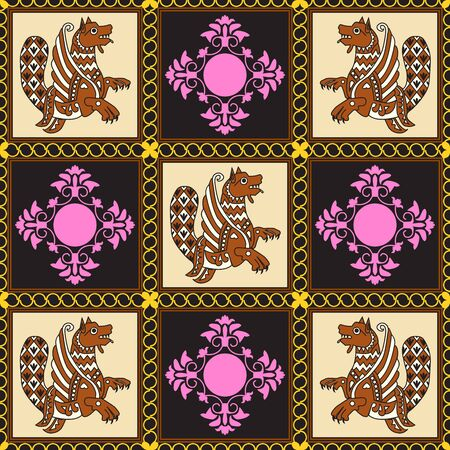 Ancient image of a dragon. A brown dragon with black and white patterns on beige squares and pink patterns on black squares. Motives of ancient oriental fabrics.