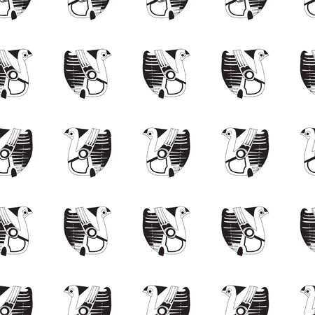 Image of stylized birds in black and white on a white background. Seamless pattern suitable for textiles and paper.