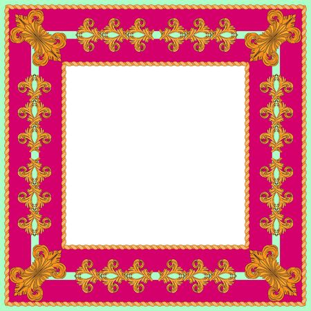 Raspberry and green frame in vintage style. Golden floral elements around a white square.