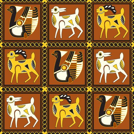 A stylized image of birds, goats and fallow deer in squares separated by chains. The motive of the ancient eastern fabric. Seamless pattern.