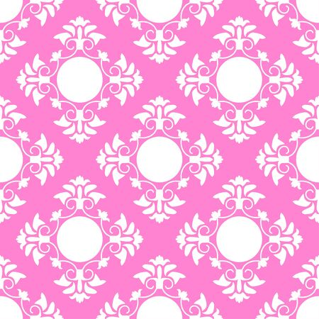 White graphic flowers on a pink background. Symmetrical arrangement of elements. Delicate pattern suitable for festive backgrounds. Seamless pattern. Иллюстрация