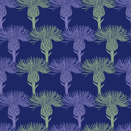 Pattern of purple and green silhouettes of flowers of burdock on a dark blue background. Background of individual buds arranged in a grid. Seamless pattern, suitable for textiles and wallpapers.