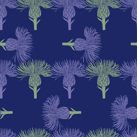 Pattern of purple and green silhouettes of flowers of burdock on a dark blue background. Background of individual buds arranged horizontally and vertically. Seamless pattern, suitable for textiles and