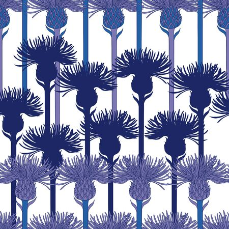 Pattern of purple and blue silhouettes of flowers of agrimony on a white background. Buds with stems are arranged vertically. Seamless pattern, suitable for textiles and wallpapers. Illustration