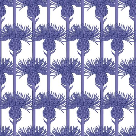 Pattern of purple silhouettes of flowers of agrimony on a white background. The buds on the stems are arranged in series. Seamless pattern, suitable for textiles and wallpapers.