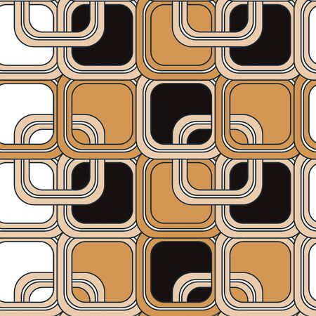 Pattern of rounded brown, white and black frames and squares. Seamless pattern with volumetric pattern of geometric shapes. Suitable for decoration, textiles, paper and various surfaces.