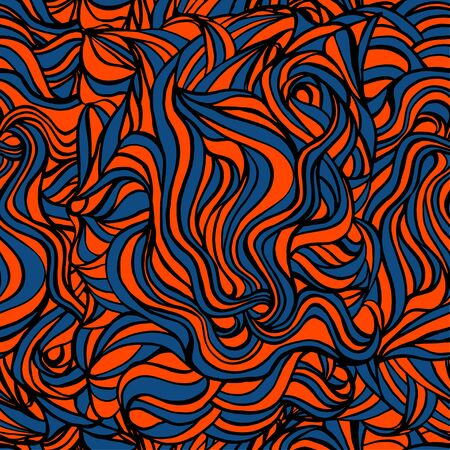 Abstract wavy lines seamless pattern. Pattern in trendy colors of lush lava and 2020. Suitable for textiles and decoration of different surfaces