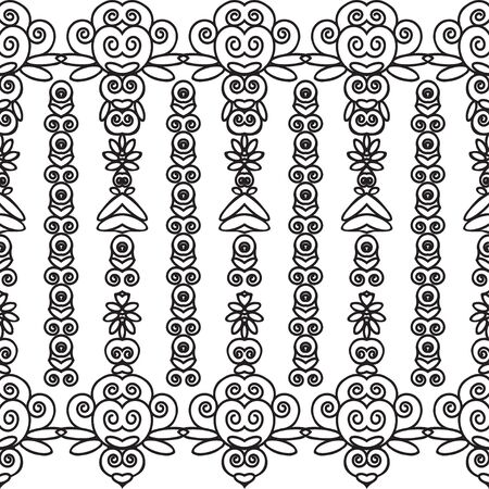 Pattern of black graphic floral elements on a white background. The pattern of individual parts in the form of vertical stripes. Seamless pattern for different surfaces.