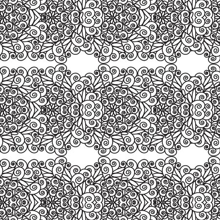 Pattern of black lace lace. Horizontal contour patterns on a white background. Seamless pattern for different surfaces.