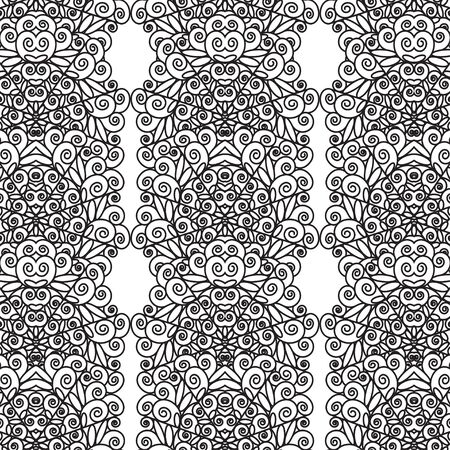 Pattern of black lace lace. Vertical contour patterns on a white background. Seamless pattern for different surfaces.