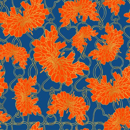 Abstract orange butterflies on a background of gold chains. Graphic fantasy insects with orange wings on a blue color. Seamless pattern for various surfaces, trend 2020.