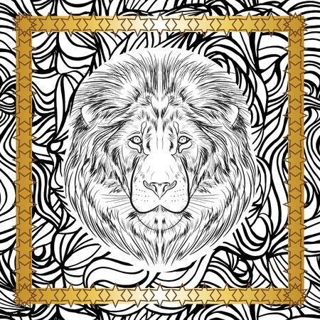 Scarf with the image of a lion's head on a graphic black and white background. Black and white image of an animal in a gold frame with stars. Vektorové ilustrace