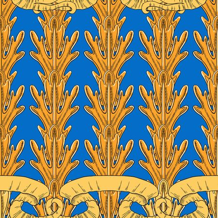 Fantasy vertical leaves of the plant and developing ribbons in the Baroque style. Separate yellow and orange elements on a blue background. Çizim