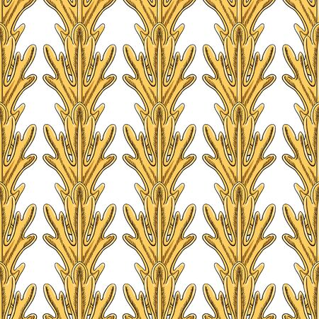 Golden fantasy leaves are stacked vertically in a row. Individual parts on a white background. Beautiful decorative seamless pattern. Çizim