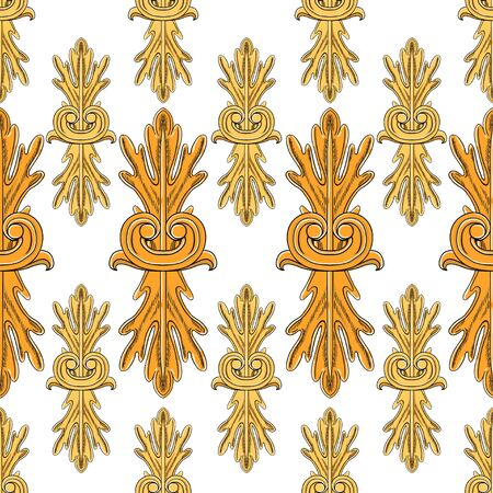 Vintage baroque floral elements. Separate yellow and orange elements on a white background. Seamless pattern suitable for textiles and paper.