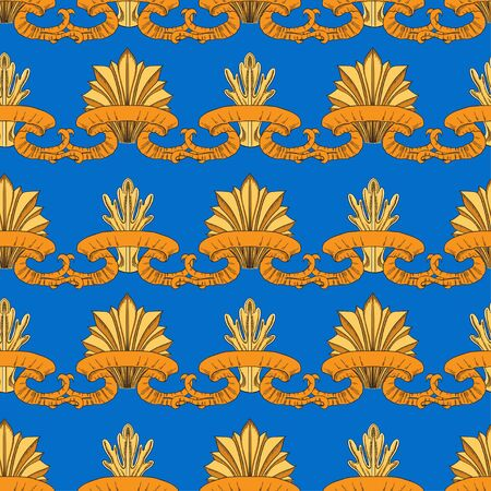 Round and narrow golden leaves are wound in an orange ribbon. Individual parts on a blue background. The pattern is in the power of baroque. Seamless pattern. Çizim