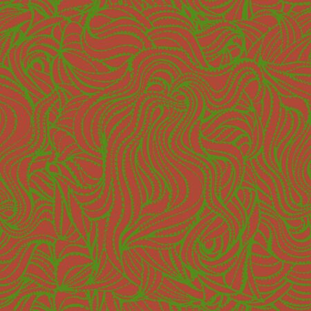 Green jagged lines in different directions on a terracotta background. Seamless abstract pattern for different surfaces.
