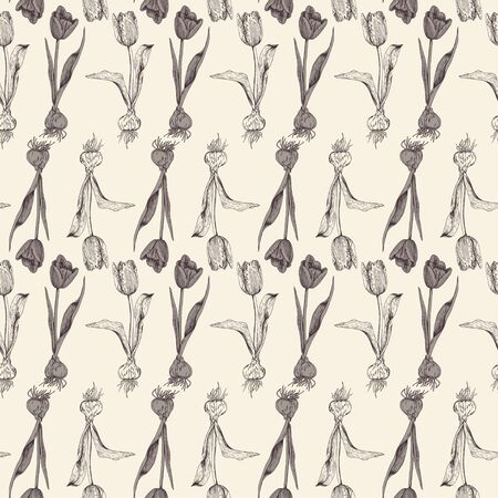 Pattern of individual tulips with bulbs arranged in rows. Botanical pattern in brown and beige colors. Spring seamless pattern for different surfaces.