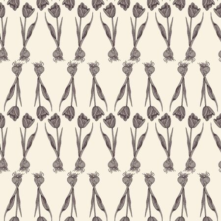Pattern of identical individual tulips with bulbs arranged in rows. Pattern in brown and beige colors. Spring seamless pattern for different surfaces.