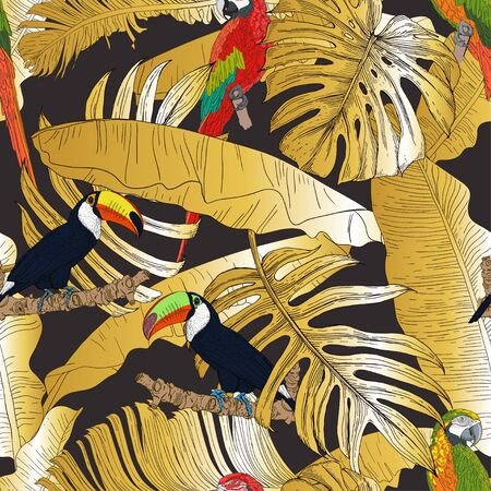 Exotic birds on the background of tropical leaves. Red and green macaws and toucans on the golden leaves of a palm and banana. Seamless vector pattern.  イラスト・ベクター素材
