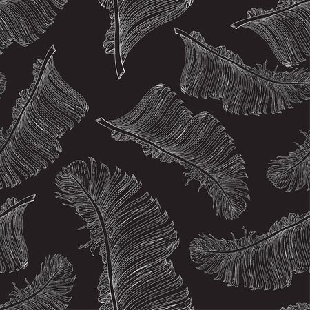 Banana leaves in a white outline on a black background. Separate elements located randomly. Seamless vector tropical pattern.