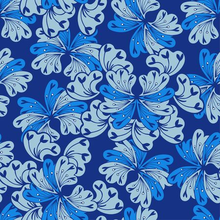 Abstract blue and azure flowers on a dark blue background. Fantasy plants in retro style. Seamless vector pattern.