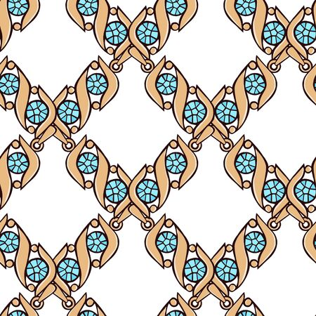 Gold jewelry in the form of a grid. Seamless vector pattern of pendants with blue crystals on a white background. Seamless vector pattern. Imagens - 142514719