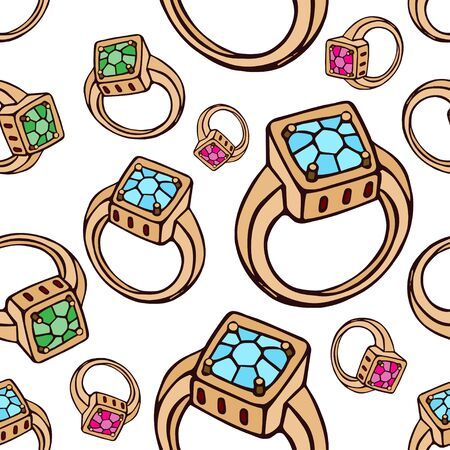 Pattern of golden rings with precious stones. Separate large and small rings with pink, blue and green crystals on a white background. Seamless vector pattern for different surfaces.