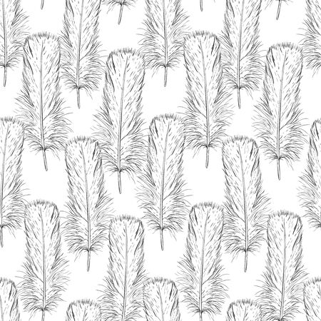 Monochrome of bird feathers. Black and white image of plumage in the form of a sketch. Drawing liner, ink. Seamless vector pattern for different surfaces.