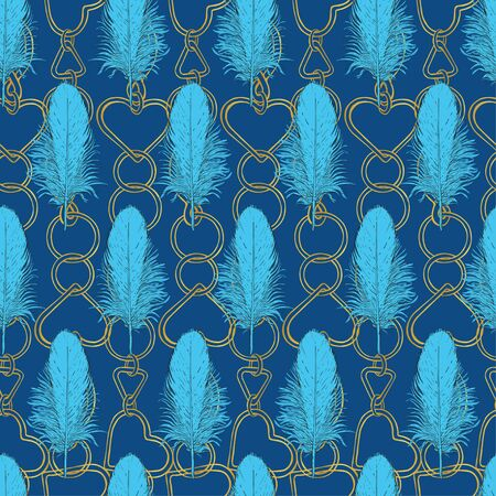 Blue bird feathers on a background of gold chains. Individual parts on a dark blue background. Seamless pattern for different surfaces.