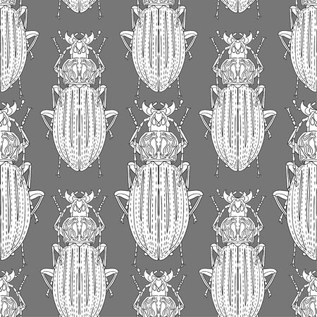 Long whiskered beetles on a gray background. Individual white insects. Vector image. Seamless pattern for different surfaces. Çizim